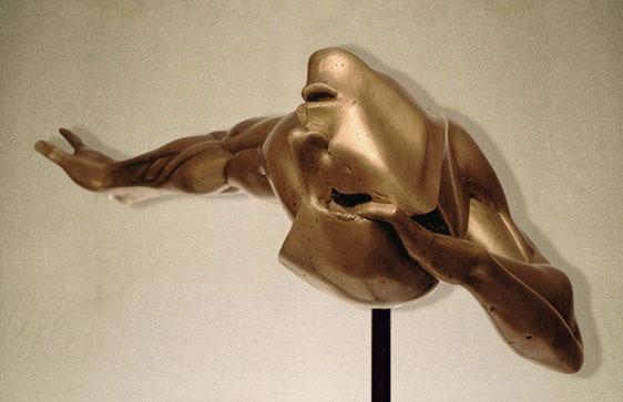 """Esasperazione R"": L74cm, bronzo, 1974 Gilbert Kruft"