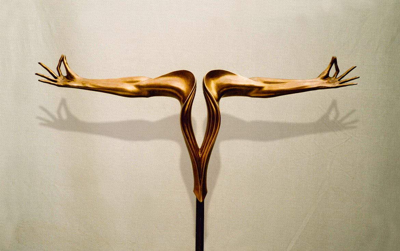"""Equilibrio"": h85cm, bronzo, 2000, Epilogo-Le tre forme del Respiro Umano-Gilbert Kruft"