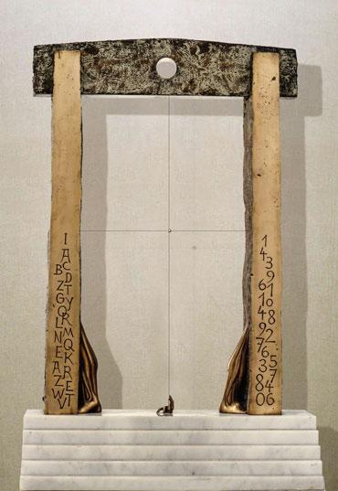 """""""Il portale del silenzio"""": h58cm, bronzo e marmo, 1986- il Meditato- Gilbert Kruft"""