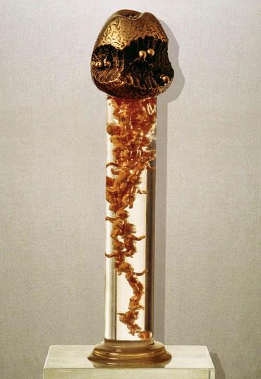 """Ti ricordi Adamo?"": h39cm, bronzo e plexiglass, 1986- il Meditato-Gilbert Kruft"