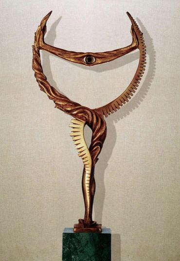 """""""La coscienza"""": h41cm bronzo, 1990- il meditato-Gilbert Kruft"""