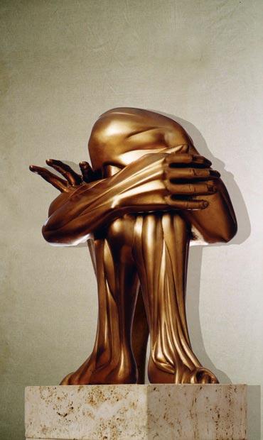 """""""Incomunicabilità"""": h43cm, bronzo su base in pietra, 1975, il Vissuto-Gilbert Kruft"""