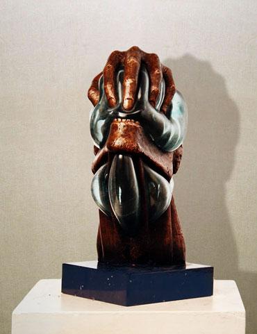 """""""La rabbia"""": h30cm, bronzo e vetro di murano, 1988, Il Visto- Gilbert Kruft"""