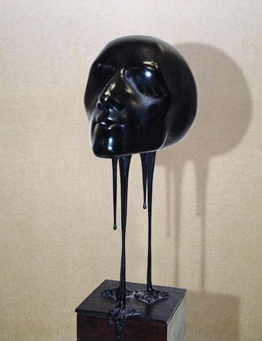 """""""Silenzio del respiro"""": h32cm, bronzo su base in legno, 1975, il Visto- Gilbert Kruft"""
