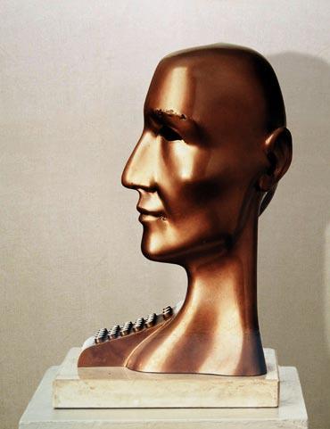 """Uomo senza qualità"": h36cm, bronzo su base in pietra, 1974- Gilbert Kruft"
